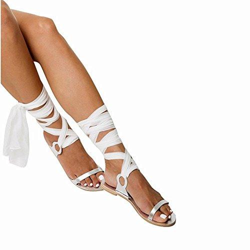 con Larghi YTTY Flip Cinturini Flop Sandali bianca Flat YxrUqIrEw1