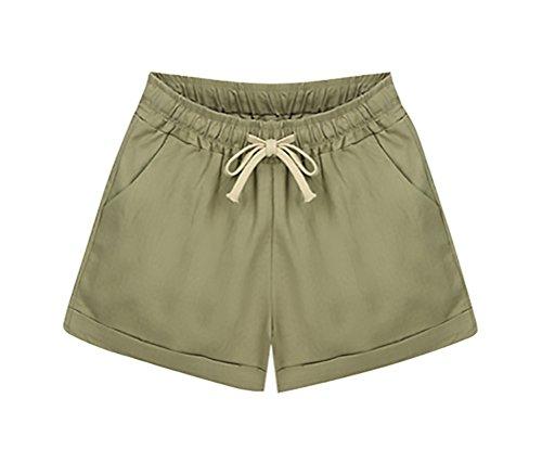 Corta Estivi Donna Moda Forti Solido Casuali Woman Pantaloni Larghi Pantaloncini Taglie Coulisse Grazioso Khaki Shorts Elegante aqSOwnxF45
