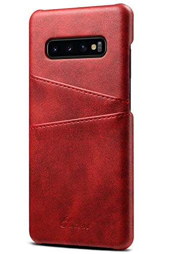 Wallet Case Compatible Samsung Galaxy S10 (2019), 6.1 inches, Slim PU Leather Back Case Cover Credit Card Holder for 2019 New Samsung Galaxy S10 Red (Best New Credit Cards For 2019)