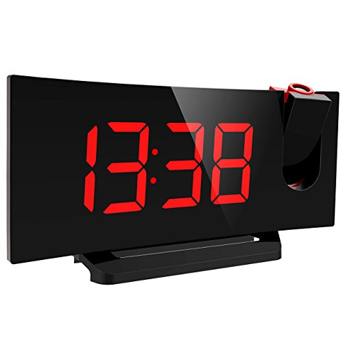 Mpow Projection Clock, FM Radio Alarm Clock, Curved-Screen Digital Alarm Clock, 5'' LED Display with Dimmer, Dual Alarm with USB Charging Port, 12/24 Hours (Red)