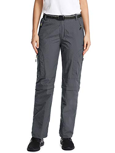 Women's Outdoor Quick Dry Convertible Lightweight Hiking Fishing Zip Off Stretch Cargo Pant #6601F-Grey,L 32