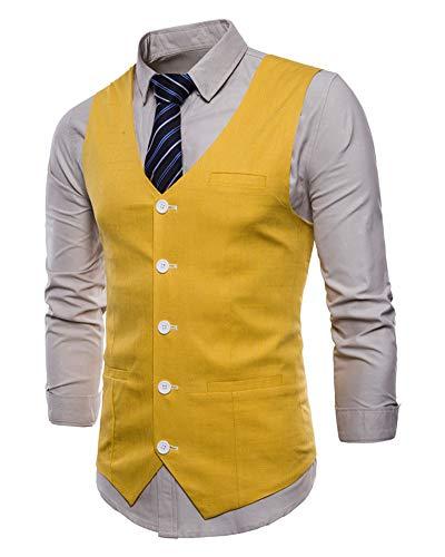 Homme Mariage Manche Boutonnage Business Gilet Costume Simple Veste De Jaune Pour Casual Sans tSpARqw