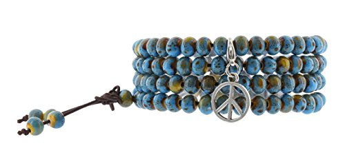 Chinese Peace Sign (Women Men Blue Porcelain Elastic Tibetan Buddhist 108 Worry Prayer Beads Mala Bracelet Necklace (Peace)