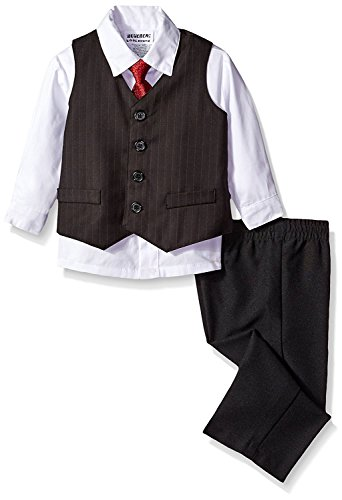 Blueberi Boulevard Boys 4 PC Formal Stripe Tuxedo Suit Set - Shirt, Vest, Slacks, Tie (24 Months)