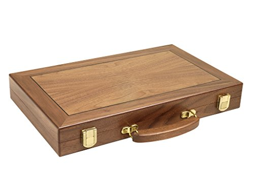 15-inch Wood Backgammon Set - Walnut Burl Board Burlwood Backgammon Set