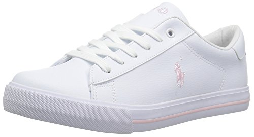 Polo Ralph Lauren Kids Girls' Easton II Sneaker, White Tumbled Light Pink pop, 4.5 Medium US Big Kid (Shoes Girls Ralph Lauren)