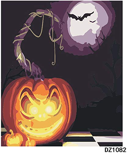 - DIY Painting By Numbers Oil Paint Adult Hand Painted Kits Paint-Halloween pumpkin light 16