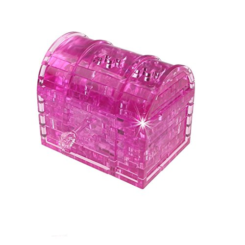 Alligator Desk Treasures (FIRERO 2018 New Hot 3D Crystal Puzzle Treasure Chest Model DIY Gadget Blocks Building Toy Gift (Hot Pink))