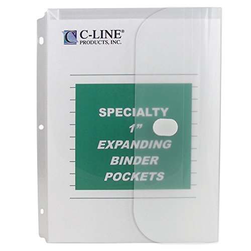 Pocket Accessory Pack - C-Line Biodegradable Acid-Free Poly Binder Pocket with 1-Inch Gusset, Side Loading, Clear, 10 Pockets per Pack (33747)
