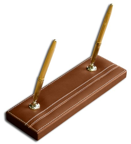Dacasso Rustic Brown Leather Double Pen Stand with Gold Trim