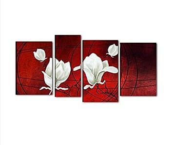 Quadri Moderni Astratti Con Fiori Olio Su Tela Dipinti A Mano Rosso
