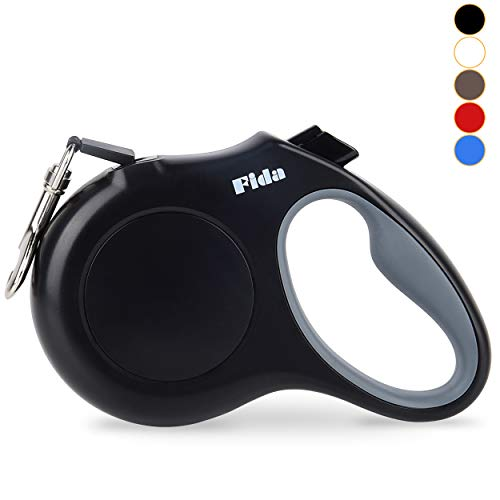 Fida Retractable Dog Leash X-Small Breed, 10 ft Durable Pet Walking Leash for Extra Small Dogs/Cats/Small Animals up to 18 lbs, 360° Tangle Free, Black