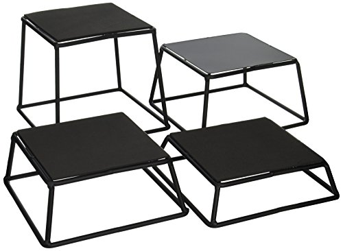 Tablecraft BKR4 Non-Slip Riser Set (Set of 4), Black, Gray