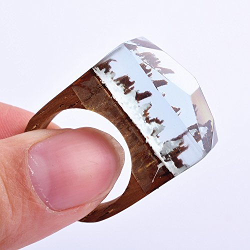 Heyou Love Handmade Wood Resin Ring With Blue Sky Landscape Inside Jewelry by Heyou Love (Image #3)