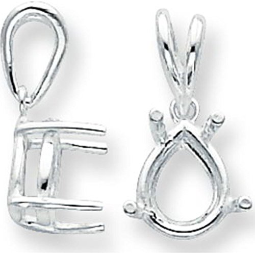 Sterling Silver 4 Prong Pear Pendant Setting 7x10mm 4 Prong Pear Pendant