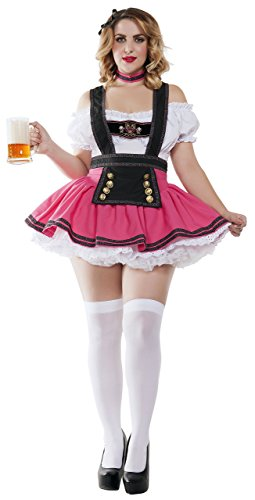 Starline Women's Plus Size Fancy Beer Girl Sexy Costume, Pink/White, -