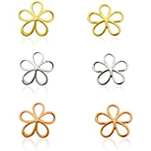 10K Solid Gold Three Color Flower Earring Set