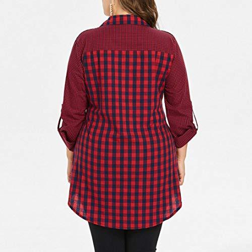 T Multicolore Tops Shirt Manica Taglie Lunga Forti Moda Plaid Blouse Donna Maglietta Camicia zZw7I