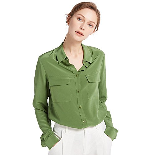 LilySilk Women's 100% Silk Blouse Long Sleeve Ladies Shirts 18 Momme Silk Kale Green Size ()