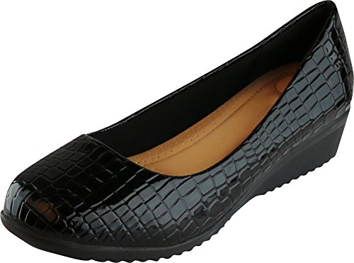 Cambridge Select Women's Slip-On Closed Toe Padded Comfort Low Wedge,7.5 B(M) US,Black Croc Patent -