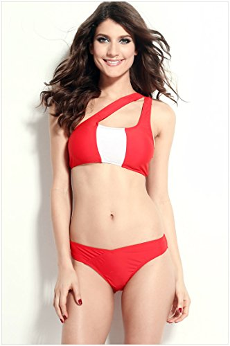 YONGYI Spa bikini grabado 3 División única Esquina superior del hombro cintura bañador con Bra pad ningún acero y vendas bañador Rojo