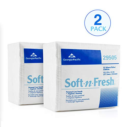 Georgia Pacific 29505 Soft-n-Fresh Personal Care Disposable Wash Cloths | Safe for Patient Care, Babies, Home Use and Beauty Regimens | 2 PK (55 PER PK)| Extra Thick, Soft and Absorbent | 13 x 13