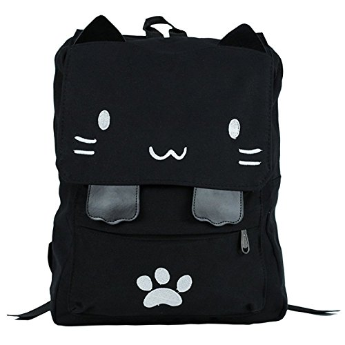 Sprite Beat Cute Canvas Cat Print White Backpack School Bag Light weight Book bags