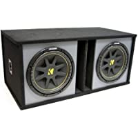 ASC Package Dual 12 Kicker Sub Box Vented Port Paintable Subwoofer Enclosure C12 Comp 600 Watts Peak