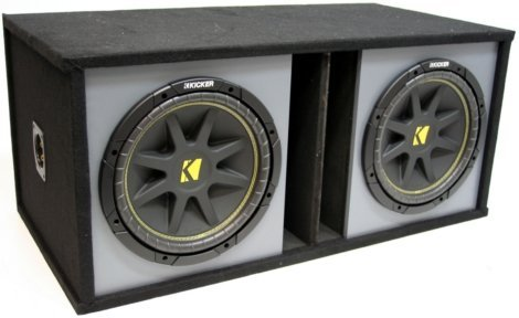 ASC Package Dual 12″ Kicker Sub Box Vented Port Paintable Subwoofer Enclosure C12 Comp 600 Watts Peak