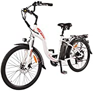 DJ City Bike 500W 48V 13Ah Power Electric Bicycle, Pearl White, LED Bike Light, Fork Suspension and Shimano Ge