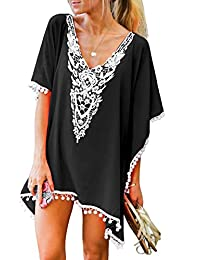b159d4d212b6 Women s Crochet Chiffon Tassel Swimsuit Bikini Pom Pom Trim Swimwear Beach  Cover Up