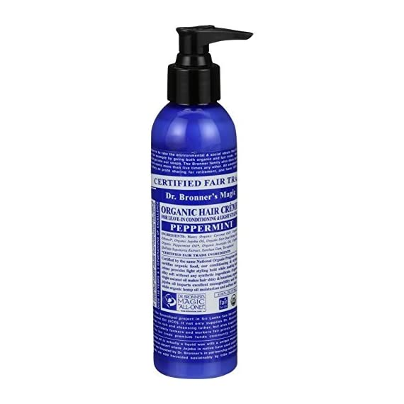 Dr. Bronner's - Organic Hair Crème (Peppermint, 6 Ounce, 2-Pack) - Leave-In Conditioner and Styling Cream, Made with Organic Oils, Hair Cream Supports Shine and Strength, Nourishes Scalp, Non-GMO 1 USDA ORGANIC & FAIR TRADE INGREDIENTS ONLY: Our Organic Hair Crèmes are formulated with organic oils to create shine & strength. Organic jojoba oil imparts manageability & feel while organic hemp oil moisturizes & softens hair. NO PARABENS OR SYNTHETIC INGREDIENTS: Dr. Bronner's Organic Hair Crèmes provide light styling hold & make hair silky soft-all without any synthetic ingredients! OK! RECOMMENDED FOR WET OR DRY HAIR: Add styling & smoothness to your hair! Start with a small amount in your hand & comb through hair-focus on the ends. Apply as much as you need to make your hair moisturized-smooth, with a lightly-styled look.