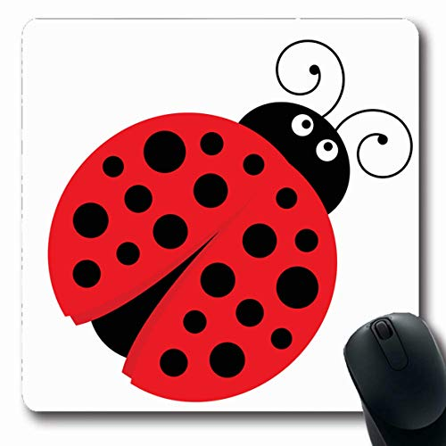 Ahawoso Mousepads for Computers Fly Red Baby Ladybug Cute Ladybird Nature Wings Black Bug Character Cheerful Design Oblong Shape 7.9 x 9.5 Inches Non-Slip Oblong Gaming Mouse Pad