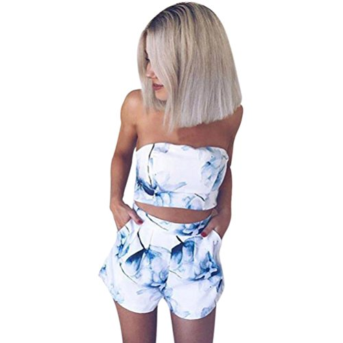 Caopixx Women Shorts Set,Summer Prints Off Shoulder Tops Ladies 2 Pieces Outfits (Asia Size L, (Sexy Outfits For Big Girls)