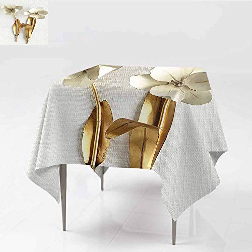 Party Table Cover 3d render golden leaf and flower design elements. Decoration elements for Christmas, home, invitation, wedding cards, valentines day, greeting cards. gold plants Isolated on white ba