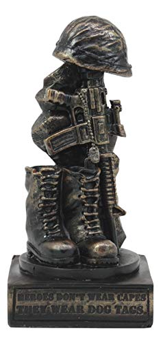 "Ebros Patriotic Fallen Soldier Memorial Statue 8"" Tall Military Rifle Helmet Boots Dog Tag Sculpture for Desktop Shelves Office Study Table Home Decor Figurine"