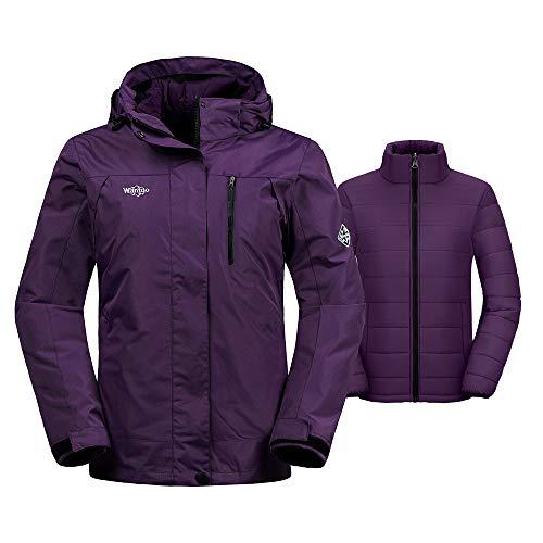 Wantdo Womens Interchange Jacket 3-in-1 Winter Coat Wind Block Warm Anorak with Detachable Puffer Liner Insulated Hoodie,Light Purple,XX-Large