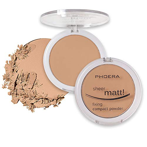 PHOERA Powder Concealer Matte Pearl Finishing Anglicolor Powder Pressed Powder, Great Choice and Gift(204 Buff Beige.)