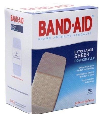 Band-Aid Adhesive Bandages, Sheer Extra Large, 1 3/4