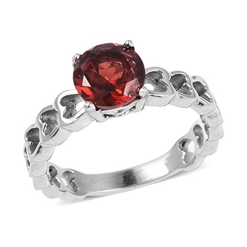 (Shop LC Delivering Joy Stainless Steel Round Garnet Solitaire Ring for Women Jewelry Gift Size 7 Cttw 0.8)