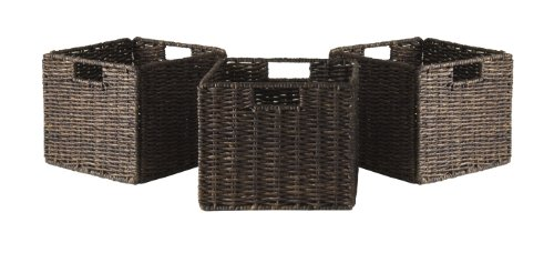 Wicker Storage Cubes - Winsome Granville Foldable 3-PC Small Corn Husk Baskets, Chocolate