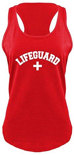 Comical Shirt Ladies Racerback Tank Lifeguard Red XL ()