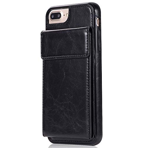 Melrose Pink Leather Case - SumacLife Protective Vegan Leather Wallet Case with Viewing Kickstand and Card Slot Holder Wallet Case for Apple iPhone 8/ iPhone 7 - Jet Black