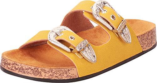 Cambridge Select Women's Two-Strap Western Cowboy Buckle Slip-On Flat Slide Sandal,8 B(M) US,Yellow IMSU