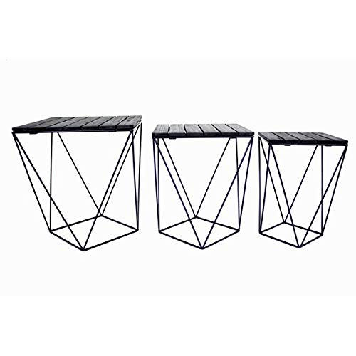 3 Piece Nesting End Tables - Iron Base End Table with Acacia Top - Black (Iron Nesting Tables Square)