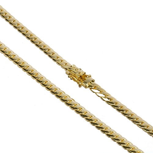 Men's Cuban Link Chain Necklace Box Clasp Safety Lock 14K Gold Plated 5 mm / 26