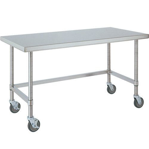 (Metro MWT309US HD Super Stainless Steel 304 Mobile Worktable with Bottom 3-Sided Frame, 96