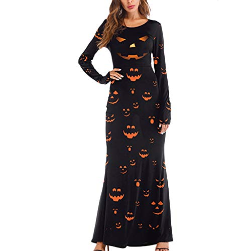 Yoyorule Dresses Girl Print Dress Halloween Dresses Long Sleeves Casual Party Sexy Dress Halloween Dress Costume Party Dress Black (Eden Bridals Flower Girl Dresses)
