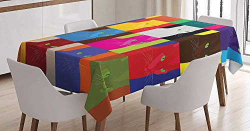 VAMIX Cat Decor Tablecloth, Pop Art Style Featured Fractal Kitty Portraits Frame with Color Effects Artsy Print, Dining Room Kitchen Rectangular Table Cover, 60W X 84L inches, Multi