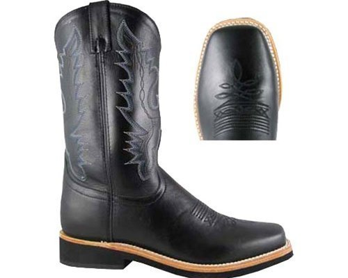Smoky Mountain Men's Judge Cowboy Boot Square Toe Black US by Smoky Mountain